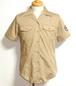 1970's BELLワッペンU.S.NAVYオープンカラーシャツ カーキ 表記(36)