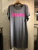 RAKUGAKI GRAFFITI Logo Dolman Sleeve One Piece Dark Gray x Pink