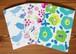 3種類の多目的 メッセージカードセット(花、青い鳥、ベリー)