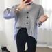 【お取り寄せ商品】Vネックストライブシャツセーター 7255