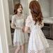 【dress】ファッションand清新!透かし彫り切り替えデートワンピース着瘦せ