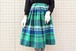 VINTAGE green blue and white check gather skirt
