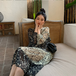 【dress】合わせやすいカジュアル大好評 レトロラウンドネック花柄ワンピース