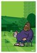 《山本周司 イラストポストカード》CY-8/ ミルクを飲む男