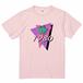 80's ファンシー PalmTree Tシャツ 淡pink