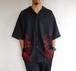 1990's USA製 [INTERSTATE] ファイヤーパターン 刺繍 チカーノシャツ ブラック×レッド 表記(XXL)