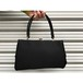 60's black satin hand bag [B611]