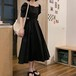 【dress】今季マストバイカジュアルパフスリーブ透かし彫りデートワンピース2色 M-0190