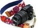 カメラストラップ 4㎝巾 一眼レフ用 片面 花柄デザイン 石垣島の花たち 赤