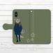 #003-012 手帳型iPhoneケース 手帳型スマホケース 全機種対応 iPhoneXS/X おおかみ オオカミ 狼 かわいい Xperia iPhone5/6/6s/7/8/X 動物 おしゃれ ARROWS AQUOS Galaxy HUAWEI Zenfone タイトル:マチアワセ(狼さん) 作:黒糖からす