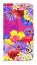 【鏡付き Lサイズ】Hawaiian Flowers Garden ハワイアンフラワーズガーデン ー Fuchsia Pink フューシャピンク 手帳型スマホケース