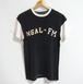 1960's フェルトレタードレーヨンアスレチックTシャツ 黒×白 実寸(S~M)
