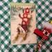 ドイツ クリスマスポストカード ソリに乗った少女たち