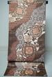 三越謹製 袋帯 正絹  金糸 茶 唐花文様 リユース 036