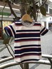 TAPPET ボーダーTシャツ NAVY x RED