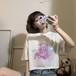 クマちゃん Tシャツ 半袖 ショート丈 ホワイト 韓国ファッション レディース ベアー 白 シンプル カットソー ラウンドネック かわいい カジュアル ガーリー 619021188402_wt