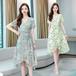 【dress】大人らしい 清新人気デザインVネック花柄ワンピースゆったり2色