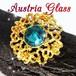オーストリアガラス★鮮やかな ブルー ポインテットカットラインストーン オープンワーク  ヴィンテージ ブローチ 透かしデザイン