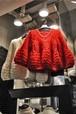 V neck switching tappori knit