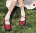 レディース ストラップシューズ 革靴 ラウンドトゥ ローヒール 合皮 革 エナメル ワインレッド ブラック 脱げない 春秋 レトロ ガーリー 韓国
