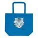 猫トートバッグ「サバトラ」たっぷり大容量 L サイズのトート! ブルー