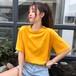 無地 大人気 原宿系 ラウンドネック 売れ筋 夏服 シンプル Tシャツ・トップス