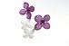《草木染》葉脈アジサイの花つなぎピアス【コチニール紫染め】・14kgf《イヤリングに交換可》