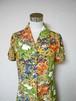 レトロ小紋のオープンカラーワンピース Open collar Shirt dress LO-170/L