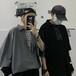 ゴスロリ シャツ 7分袖 編み上げ ユニセックス ブラック グレー 病み可愛い v系 ストリート系 原宿系 オルチャン 10代 20代