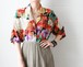 silk multi color botanical shirt
