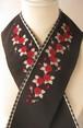 刺繍半衿・薔薇・情熱の大人色❤黒と赤