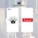 FOOT CROWN 限定 手帳型 スマホケース フットサル ボックスロゴ 白 Futsal iphone全機種対応