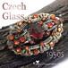 ストロベリーレッド★チェコガラス レイヤー オープンワーク 彫金 ヴィンテージ ブローチ 1950s