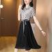 【dress】レディースファッションフェミニン切り替えドット柄デートワンピース M-0307