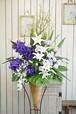 E0185) 開店お祝い花 パープル系