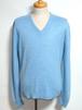 1970's Vネックアクリルニットセーター USA製 ライトブルー 実寸(L)