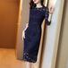 【dress】気質溢れる エレガント 着痩せレース デートワンピースフェミニン M-0513