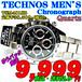 テクノス 紳士 クロノグラフ TSM401SB 定価¥38,500-(税込)