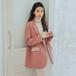 カラージャケット ピンク/ホワイト ロング丈 シンプル フォーマル 上品 オフィス
