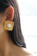 dead stock gold × pearl earrings