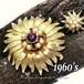 1つで2役!フェイクパール &ラインストーンお花のコンバーチブルブローチ,1960s,