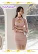 【お取り寄せ品】ヌーディ―カラーの胸開きミニドレス