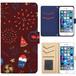 Jenny Desse Galaxy S6 edge plus ケース 手帳型 カバー スタンド機能 カードホルダー レッド(ブルーバック)