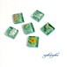【プチデコ】グリーンガラスタイル ピアス/イヤリング/ヘアピン/リング