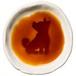 おすわりポーズの柴犬のシルエットが浮かぶお醤油小皿(丸)