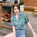 韓国ファッション  レディース  スタイリッシ  ラペル  半袖  シャツ・ブラウス・トップス