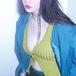 V-neck short sleeve rib knit top Vネック 半袖 リブ ニット トップス