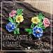 英国ヴィンテージ★ かわいいお花 マルカジット エナメル フラワー イヤリング 1950s マーカサイト