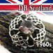 英国 DB刻印★パープル ラインストーン ケルト クロス 透かし スコティッシュ ブローチ 1960s DAWSON BOWMAN