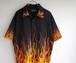 2000's ファイヤーパターン チカーノシャツ ブラック×オレンジ 表記(L)